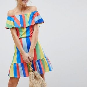 ASOS Off the Shoulder Sundress Rainbow Stripes